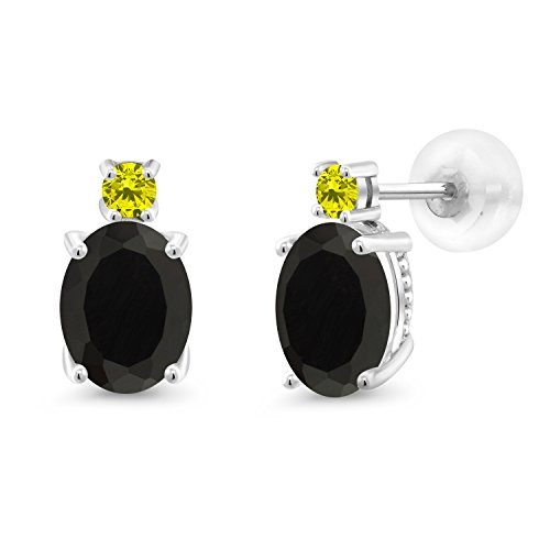 Gem Stone King 2.63 Ct Oval Black Onyx Canary Diamond 14K White Gold Earrings 8x6