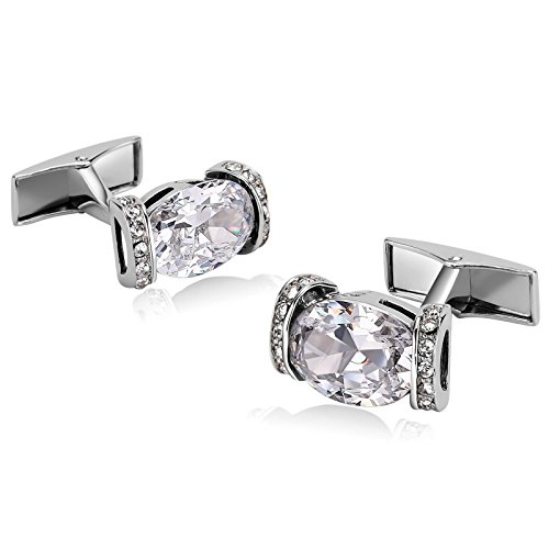 KnSam Stainless Steel Cufflinks for Mens Hollow Oval Zirconia Crystal White Shirt Stud (Steel Oval Cufflinks)