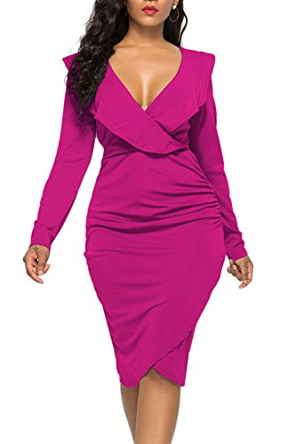 WIWIQS Women's Deep V Neck Bodycon Dress Long Sleeve Plus Size Sexy Club Party Dresses,Rose Long Sleeve,M - Jersey Deep V-neck Dress