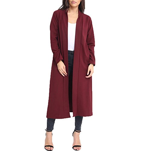 New Woman's Ladies Open Front Waterfall Jacket Long line Crepe Cardigan Long Sleeve Coat 8-26 Wine