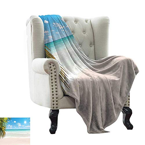 - Fleece Blanket Ocean,Dreamy Caribbean Beach with Crystal Clear Water Sky and Palm Leaves Print,Cream Turquoise Green Winter Luxury Plush Microfiber Fabric 50
