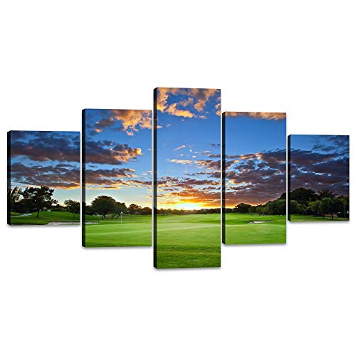 Green Freshness Picture Wall Art Paintings on Canvas Blue Sky Home Decor Modern Posters and Prints for Living Room Golfer or Golf Enthusiast Gift 5 Panel Artwork Framed Ready to Hang(60''Wx32''H)