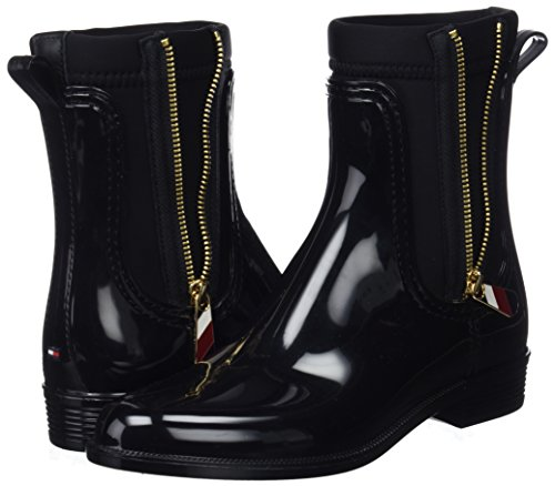 Black Material Mix Women''s Boot Wellington Tommy black 990 Hilfiger Rain EfqWn50x