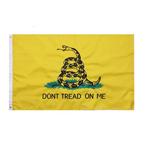 (3x5 Embroidered Gadsden Don't Tread on me (White Snake) Double Sided Nylon Embroidered 3'x5' Flag Banner Grommets (Ramsons Imports))