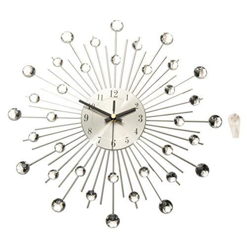 GUABOHHY Metal Wall Clock Fashion Modern Decoration Clock with Rhinestones Fashion Luxury Living Room Art Clock Silver