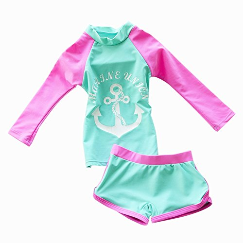 New Girl Kid 2 Piece (Jojobaby Kid Girl's Two-piece Long Sleeve Swimsuits Bathing suit UPF50+ (3-4 Years))