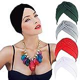 AWAYTR Turban Elastic Chemo Hat Women Strench Pleated Beanie Hat Elastic Beanie (Multi)