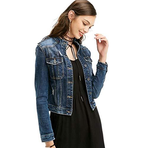 Multi Outerwear Elegante Moda Primaverile Jacket Colori Di Slim Fashion Fit Cute Con Autunno Jeans Cappotto Denim Vintage Donna Button Solidi Giacche Dunkel Blau Manica Lunga Chic tasca q1wESPnY