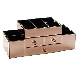 Rose Gold Mirrored Glass Jewellery Box Amp Makeup Organiser