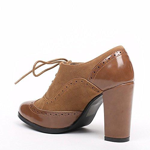a1de68cebfd3b Ideal Shoes - Richelieu bi-matière à Talons Divia Camel 41  Amazon.fr   Chaussures et Sacs