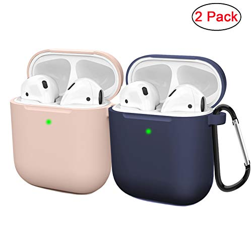 Compatible AirPods Case Cover Silicone Protective Skin for Apple Airpod Case 2&1 (2 Pack) Sand Pink/Navy Blue