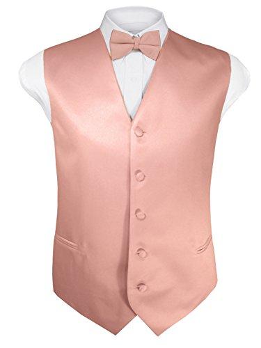 Guytalk Mens 4pc Tuxedo Vest, Bowtie, Tie, Hanky Set XL Peach ()