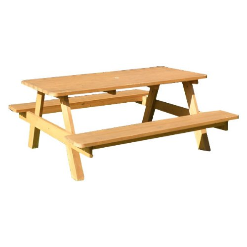 ピクニックテーブル PT-L1200 ガーデンテーブルベンチ オーダー可能 パラソルホール 天然木 B009GUA7R6
