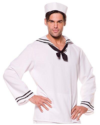 Underwraps Costumes Men's Sailor Costume - Shirt, White/Black, (Popeye Sailor Man Costume Shirt)