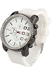 ShoppeWatch Mens White Wrist Watch 50mm Big Face White Band Unisex Reloj para Hombre SW1091WH