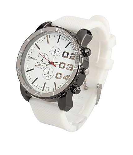(ShoppeWatch Mens White Wrist Watch 50mm Big Face White Band Unisex Reloj Para Hombre SW1091WH)