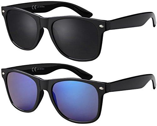 Original La Optica UV400 Unisex Retro Sonnenbrille Wayfarer Style - Doppelpack Glänzend Grau/Blau