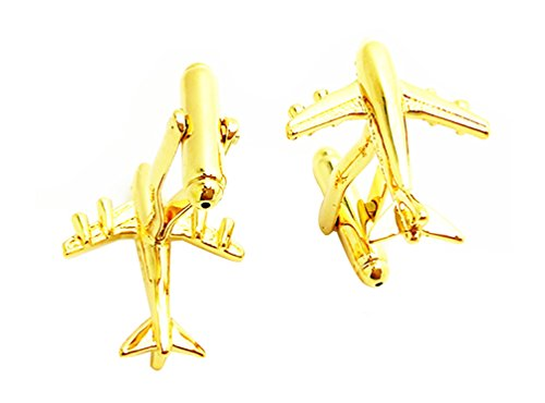 Covink Golden Jet Aircraft Cuff-links Commercial Jetliner Cuff Airline Airplane Cuff Link for Plane Fans - Commercial Jet Aircraft