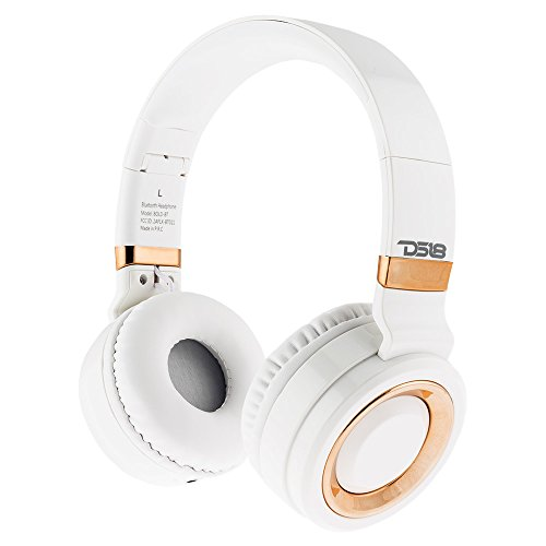 DS18 Bold Bluetooth Headphones Over Ear, HD Stereo Sound Wireless Headset, Foldable, Soft Memory-Protein Earmuffs, w/Built-in Mic and Wired Mode for Cell Phones, Tablets, PC, or TV - White Rose Gold
