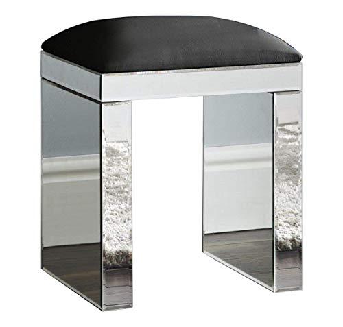 D PRO T Taburete de espejo tocador taburete silla muebles cristal dormitorio espejo de piel sintetica acolchada