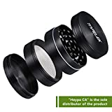 Herb Grinder,TOPELEK 2-inch Tobacco Spice Herb Grinder with Pollen Scraper,4-Layer 3-Chamber Design,Powerful Magnetic Lid,Razor-Sharp Teeth,Zinc Alloy Material Made,Gun-Black
