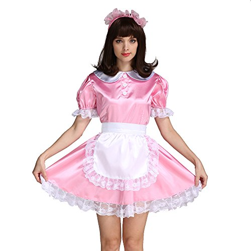 Gocebaby Sissy Girl Maid Pink Satin Dress Uniform Costume (XXXL)