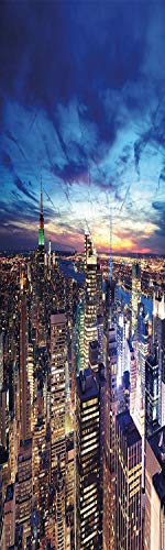 City 3D Decorative Film Privacy Window Film No Glue,Frosted Film Decorative,Empire State and Skyscrapers of Midtown Manhattan New York Aerial View at Dusk,for Home&Office,23.6x70.8Inch Tan Navy Blue A]()