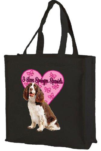 Shopping Cotton Bag Springer Spaniel Love Black Spaniels Springer I aAxqvEOFaw