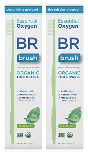 (Essential Oxygen BR Certified Organic Toothpaste, for Whiter Teeth, Fresher Breath, Happier Gums, Tooth Sensitivity, Peppermint, 4 Ounce, 2 Count)
