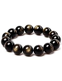 JAJAFOOK Tibetan 28 Mala Bead Gold Obsidian Buddhist Buddha Prayer Beads Bracelet,Stretch String,Unisex