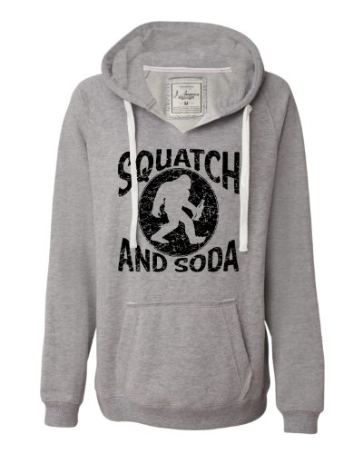 X-Large Oxford Womens Squatch and Soda Bigfoot Sasquatch Scotch and Soda Deluxe Soft Fashion Hooded Sweatshirt Hoodie