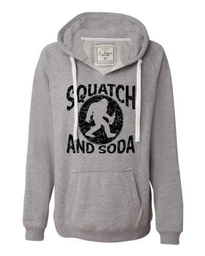 X-Large Oxford Womens Squatch and Soda Bigfoot Sasquatch Scotch and Soda Deluxe Soft Fashion Hooded Sweatshirt Hoodie