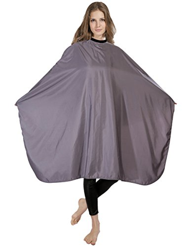 XMW Multipurpose Solid Styling Hair Salon Polyester Cape with Adjustable Neck Closure, Grey by XMW