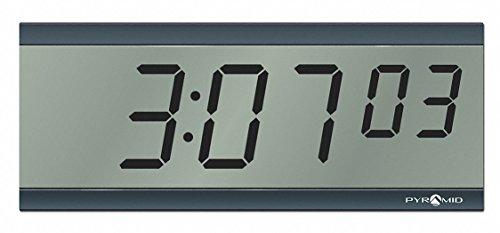 Pyramid 4-1/2 x 11-1/4 Rectangle LCD Wall Clock, Black ABS Plastic Frame