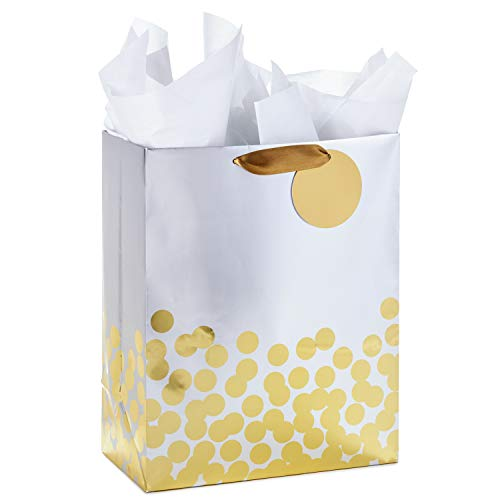 Hallmark Large Gift Bag with Tissue Paper for Engagements, Bridal Showers, Weddings, All Occasion (Gold Foil Dots on Silver) -
