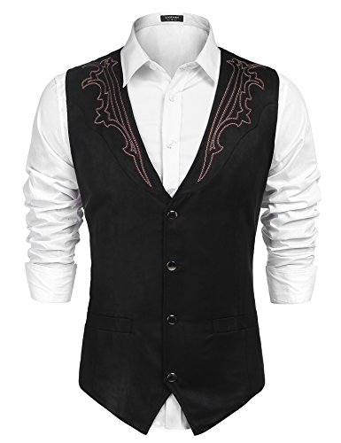 COOFANDY Men's Suede Leather Suit Vest Casual Western Vest Jacket Slim Fit Vest Waistcoat (Large, Black-4)