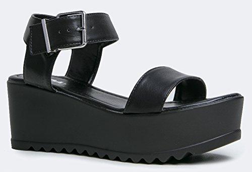 Women's Platform Buckle Sandal - Open Peep Toe Fashion Chunky Ankle Strap Shoe - Surf by J Adams