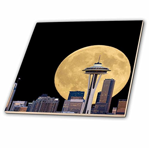 3dRose Danita Delimont - Seattle - WA, Seattle, skyline view with full moon. Composite image, moon added. - 6 Inch Ceramic...