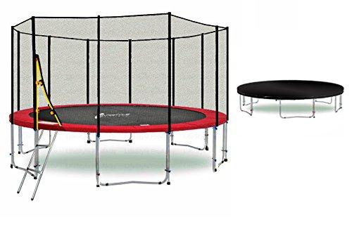 LS-T400-PA13 (RDW) DELUXE LifeStyle ProAktiv Garten- Trampolin 400 cm - 13ft - Extra Starkes Sicherheitsnetz - 180kg Traglast - TÜV/GS/CE