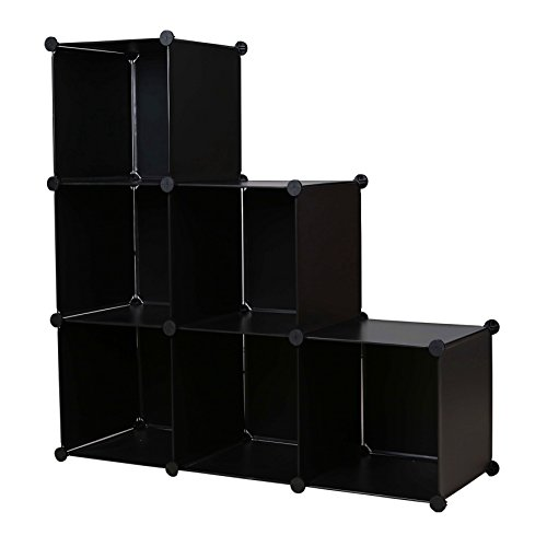 C&AHOME DIY Stair Shape Bookcase 6-Cube Storage Closet Organizer Toy Rack Shoe Case Shelf 3-tier Cube Cabinet (Black)