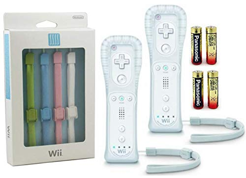 Nintendo Wii/Wii U/Wii mini Motion Plus Controllers (2 Pack) Plus 4 Free Color Strap