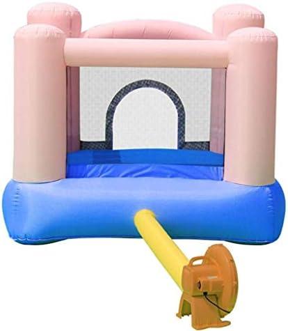 Luckya インフレータブル城、子供のスライド屋外小型インフレータブルトランポリンホームスクエアトランポリン幼稚園インフレータブルスライド、ピンク、200 * 200 * 160センチメートル