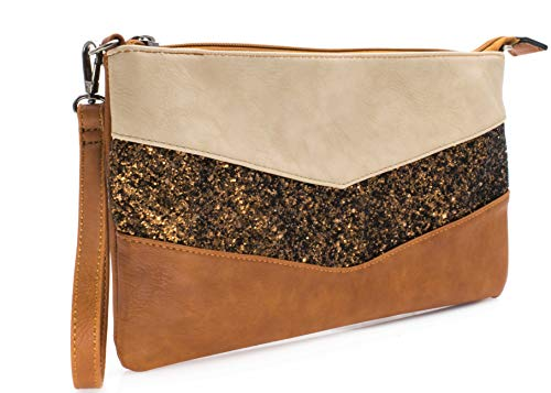Marrone a paillettes donna da tracolla pochette Gallantry con borsa 7Eq0wE8
