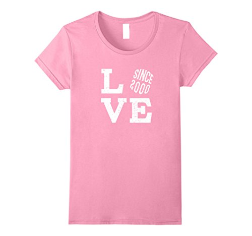 Womens 17th Wedding Anniversary T-Shirt Funny For Married In 2000 Large Pink