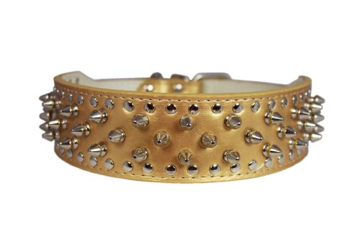 19″-22″ Gold Leather Spiked Studded Dog Collar 2″ Wide, 37 Spikes 60 Studs, Pitbull, Boxer, My Pet Supplies