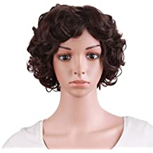 MapofBeauty 30cm/ 12 inch Special Elderly Short Curly Fashion Wigs(Dark Brown)