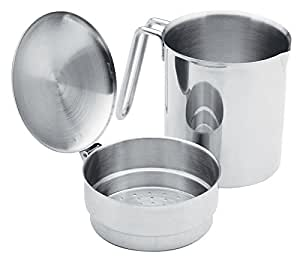 Stainless Steel Cooking Oil Grease Strainer Saver Keeper Catcher 2pc