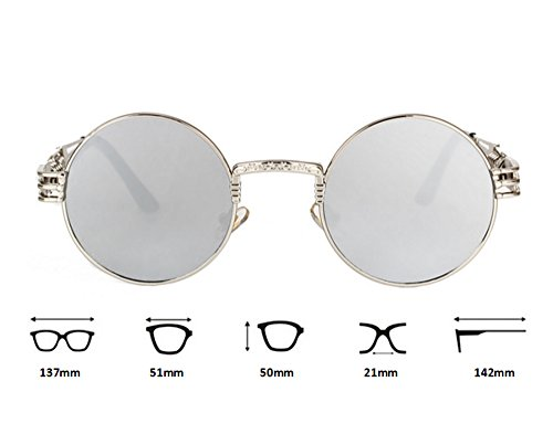 Retro de Gris redondo marco Classic punky gafas colorido sol personalidad Negro UV400 reflexivo Awd6CqT