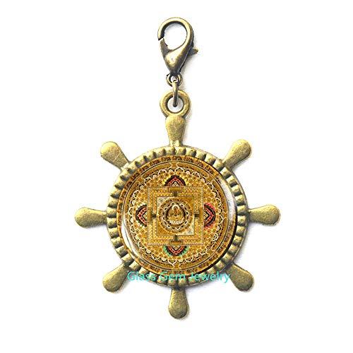 (Tibetan Mandala Lobster Clasp, Old Buddhist Mandala Rudder Zipper Pull, Buddhist Amulet Gift, Spiritual Yoga Jewelry Gift, Men's Rudder Zipper Pull ,Q004)