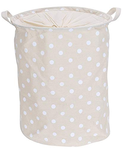 Blu Monaco Small Foldable Round Waterproof Canvas Fabric Laundry Hamper Storage Basket with Handles and Drawstring - Beige with White Polka Dot